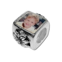 Pandora Style Photo Bead flower