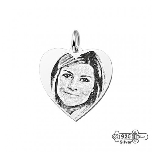 Photo in pendant engraved silver heart small