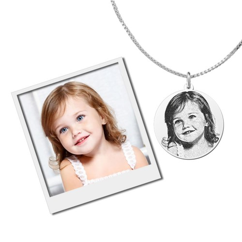 Photo in pendant engraved silver round large