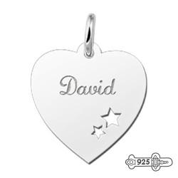 Silver Engraved Pendant Stars inside