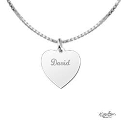 Silver Engraved Pendant Heart