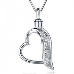 Memorial Ash Holder Open Crystal Heart