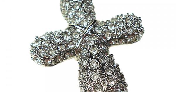 Hanger voor aan een ketting of armband Kruis met strass