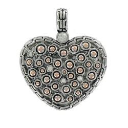 Pendant Heart Dual Tone Zircon