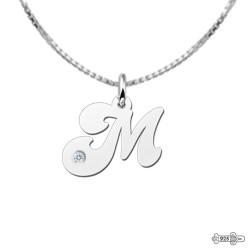 Silver Letter Pendant Zirkonia