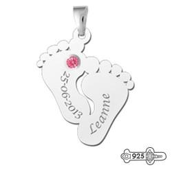 Silver Engraved Pendant 2 Heart inside