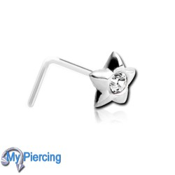 Nose Piercing Silverl Star White