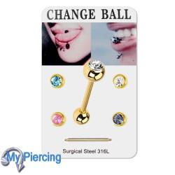 Piercing set Tongue Gold