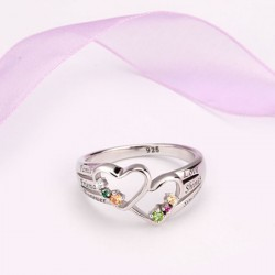 Engraved Ring Silver with Birth Stones Double Heart