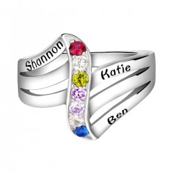 Engraved Ring Silver with Birth Stones Wave Stack