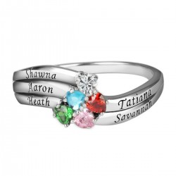 Engraved Ring Silver 5 Hearts