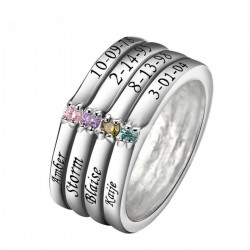 Engraved Ring Silver with Birth Stones Eight Names