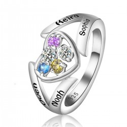 Engraved Ring Silver with Birth Stones Heart Shank