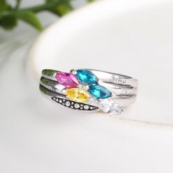 Engraved Ring Silver with Birth Stones Marquise