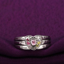 Engraved Ring Silver with Birth Stones Solitaire Heart