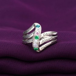 Engraved Ring Silver with Birth Stones Six Waves