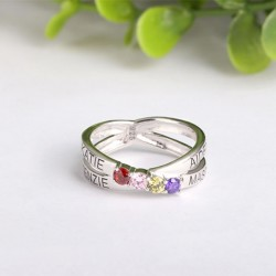 Engraved Ring Silver with Birth Stones Criss Cross