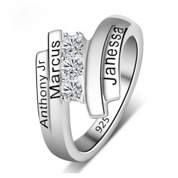 Engraved Ring Silver with Birth Stones 4 Names Spiral