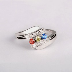 Engraved Ring Silver with Birth Stones 2 Names Art Promise