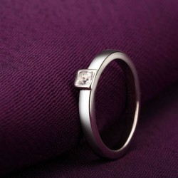 Engraved Ring Silver with Birth Stone Princess