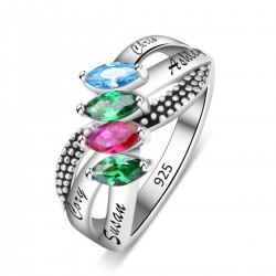 Engraved Ring Silver with Birth Stones S Shape