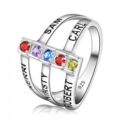 Engraved Ring Silver with Birth Stones All Open
