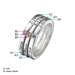 Engraved Ring Silver with Birth Stones Triple