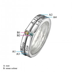 Engraved Ring Silver with Birth Stones Double Stacking